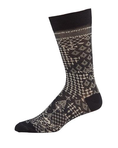 Men's Patterned Cotton-Blend Socks