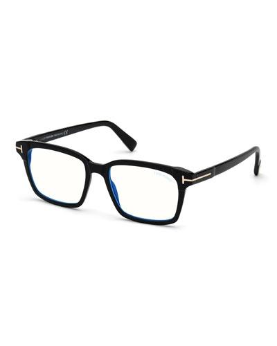 Men's Blue Block 51mm Square Acetate Optical Glasses