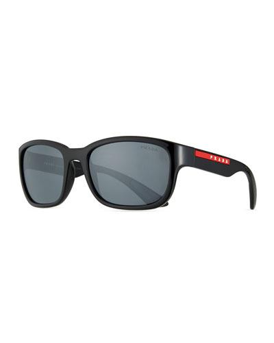 Men's Square Plastic Logo Sunglasses