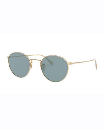 Men's Coleridge Round Metal Aviator Sunglasses