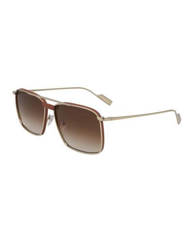 Men's Metal/Leather Square Aviator Sunglasses