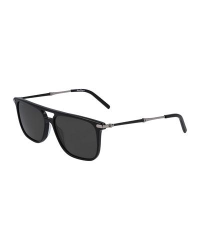 Men's Polarized Square Double-Bridge Sunglasses