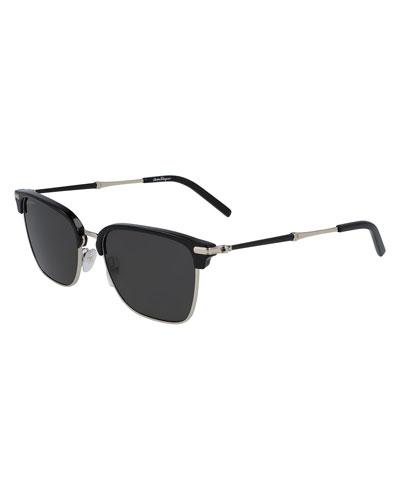 Men's Polarized Half-Rim Rectangle Sunglasses