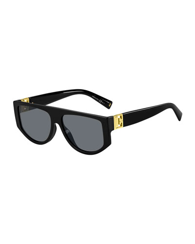 Men's Rectangle Acetate Sunglasses w/ Metal Logo