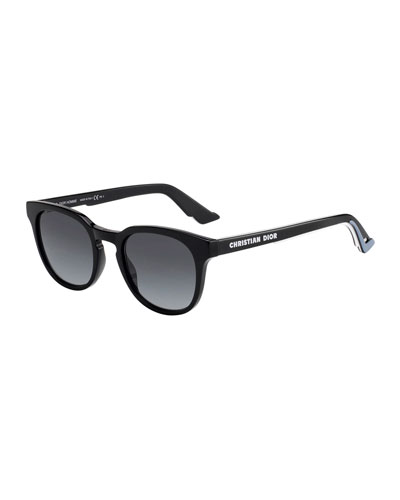 Men's B24 Round Gradient Acetate Logo Sunglasses