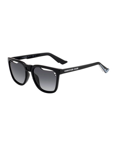Men's B24 Square Gradient Cutout-Lens Logo Sunglasses