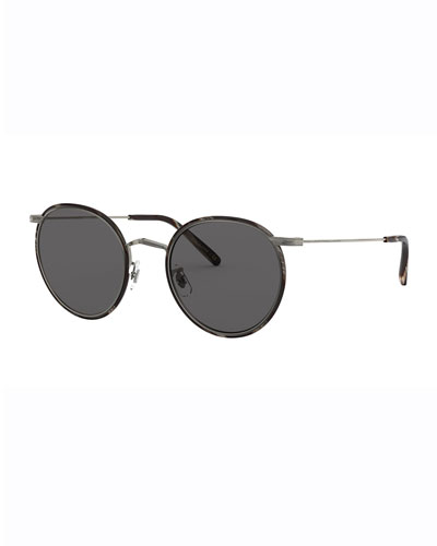 Men's Casson Round Aviator Titanium Sunglasses
