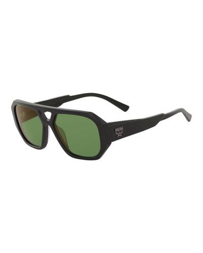 Men's Solid Acetate Navigator Sunglasses