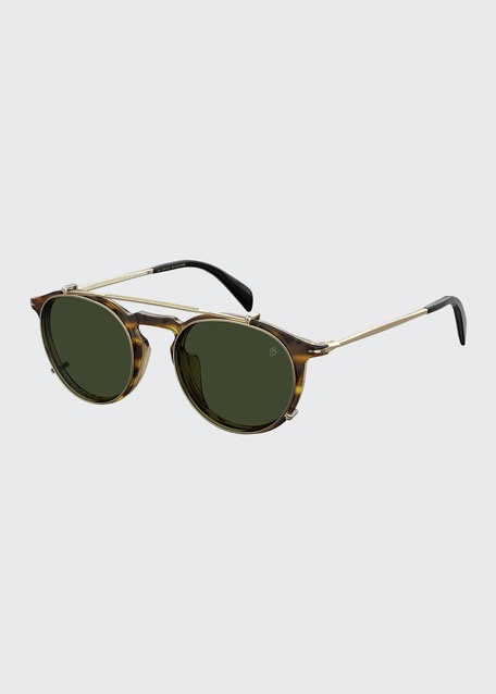 Men's Round Sunglasses w/ Clip-On Lenses