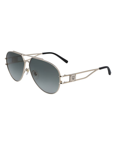 Men's Metal Aviator Sunglasses w/ Logo Plaque