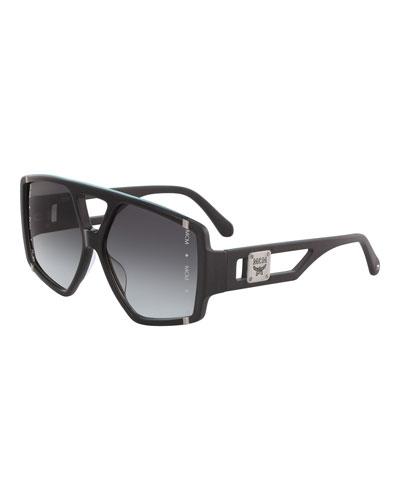 Men's Gradient Cutout-Frame Aviator Sunglasses