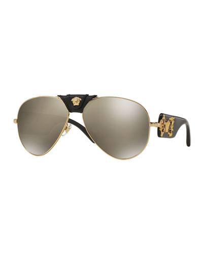 Men's Leather & Metal Medusa Head Aviator Sunglasses