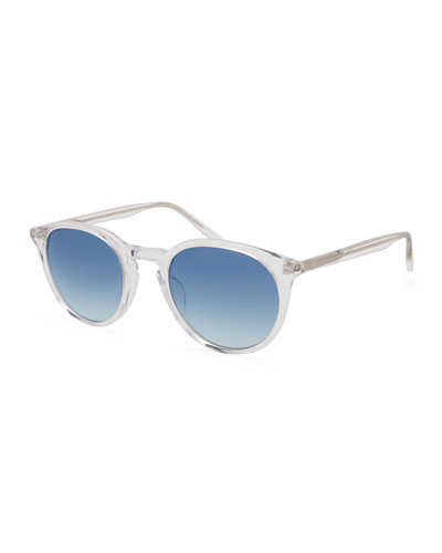 Men's Round Gradient Transparent Acetate Sunglasses