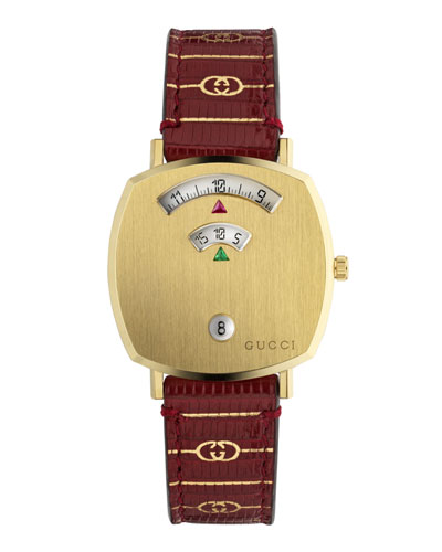 Men's Gucci Grip 38mm Square 2-Window Watch with Lizard Strap