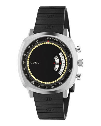 Men's Gucci Grip 40mm Square Chronograph Watch with Rubber Strap