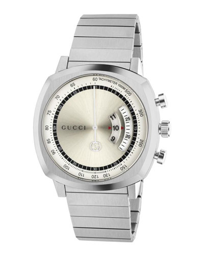 Men's Gucci Grip 40mm Square Chronograph Watch with Bracelet