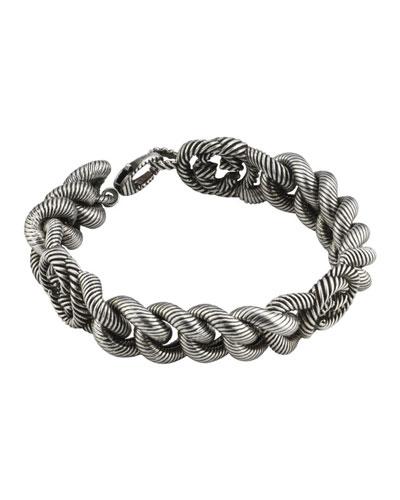 Men's Interlocking G Sterling Silver Gourmette Bracelet