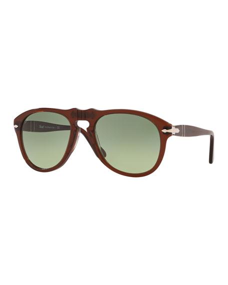 Men's Gradient Translucent Keyhole Aviator Sunglasses