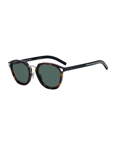 Image 1 of 1: Men's Round Havana Acetate/Metal Sunglasses