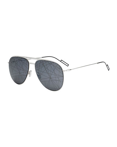 Men's Printed Mirror-Lens Metal Aviator Sunglasses