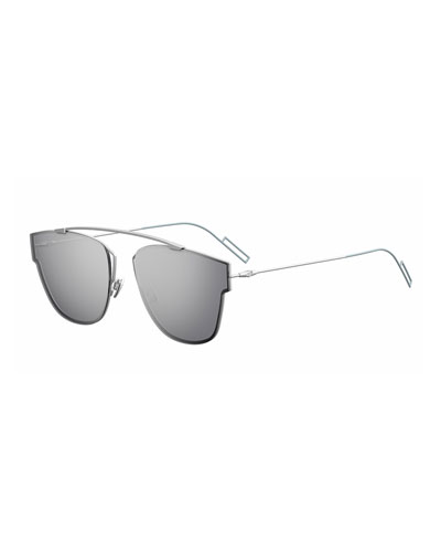 Men's Mirrored Geometric Metal Sunglasses