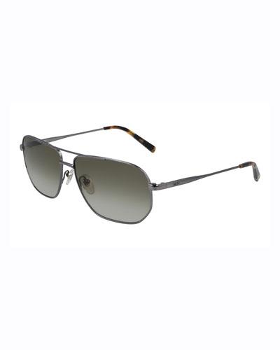 Men's Simple Logo Gradient Navigator Sunglasses