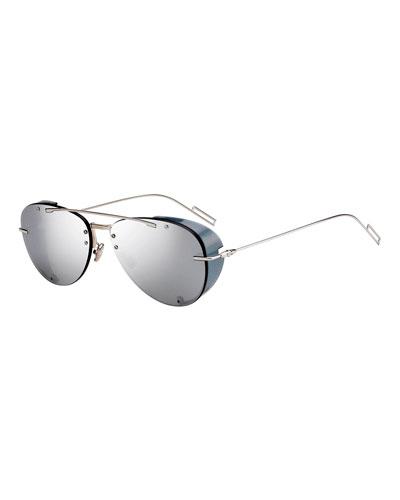 Men's Chroma 1 Rimless Mirrored Aviator Sunglasses