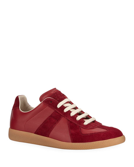 Image 1 of 1: Men's Replica Leather/Suede Low-Top Sneakers