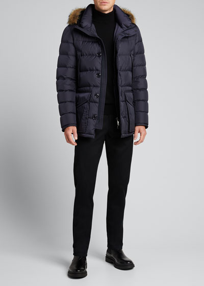 Men's Cluny Quilted Puffer Jacket w/ Fur Trim