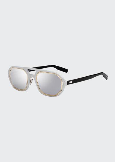 Men's Octagonal Metal-Trim Sunglasses