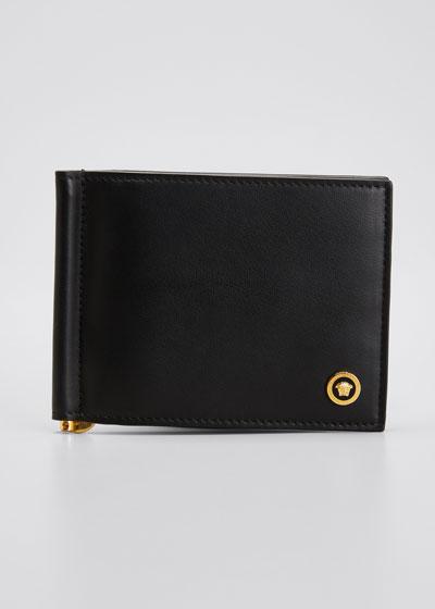 Men's Bi-Fold Medusa Leather Wallet w/ Money Clip