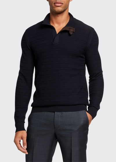 Men's Textured Wool Leather-Trim Sweater