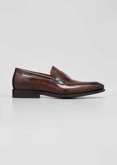 Men's Leather Penny Loafers, Brown