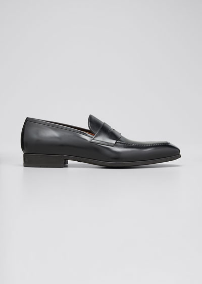 Men's Leather Penny Loafers, Black