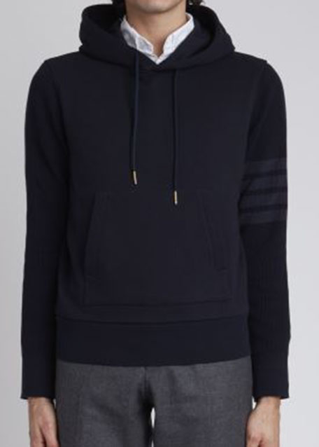 Image 1 of 1: Men's Cotton Terry Tonal 4 Bar Pullover Hoodie