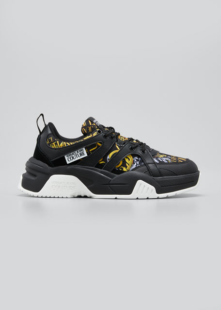 Image 1 of 1: Men's Barocco-Print Mix-Media Chunky Sneakers