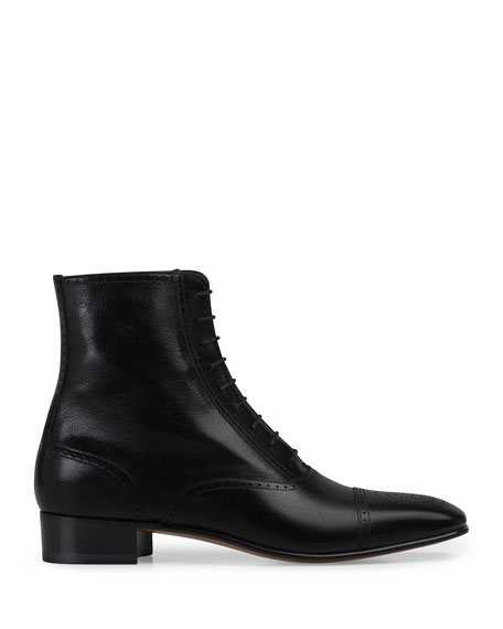 Image 1 of 1: Men's Dracma Brogue Leather Ankle Boots