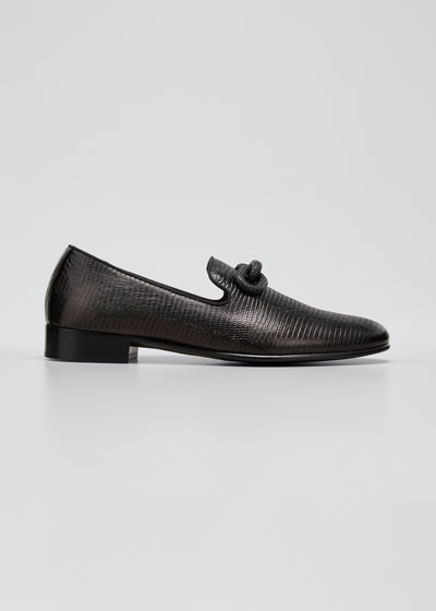 Men's Tetra Embossed Leather Loafers w/ Swarovski Chain