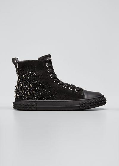 Men's Blabber Swarovski Crystal High-Top Sneakers