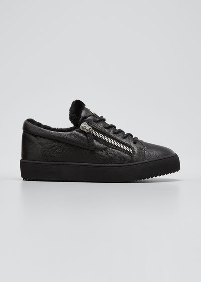 Men's Arena Leather & Shearling Low-Top Sneakers