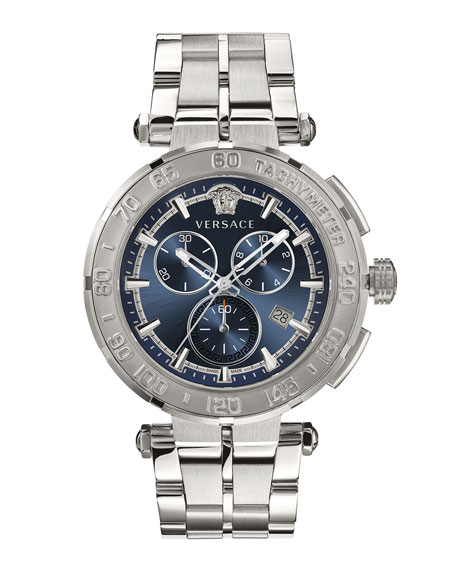 Image 1 of 1: Men's 45mm Greca Chrono Bracelet Watch