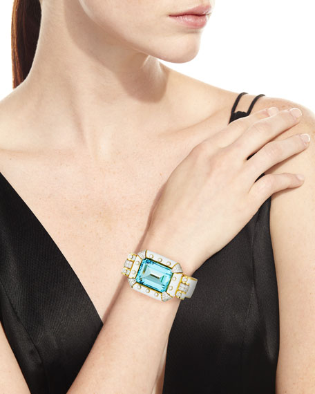 Aquamarine & White Enamel Bracelet with Diamonds in 18K Gold & Platinum