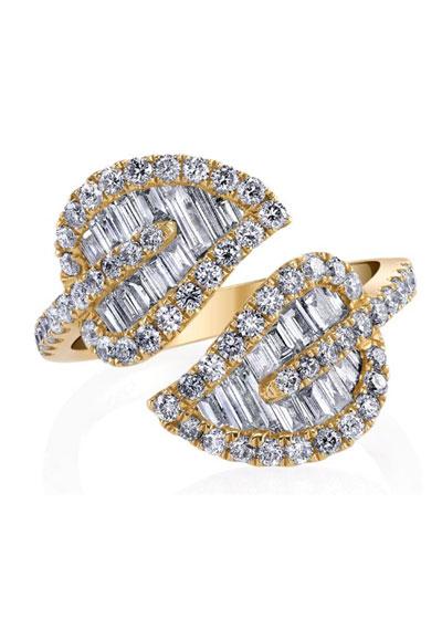 18k Gold & Diamond Medium Leaf Ring
