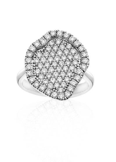 Pave Diamond Geode-Shaped Ring, Size 6