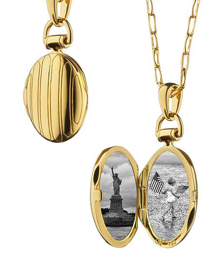 "18k Gold Petite Pinstripe Locket, 30""L"