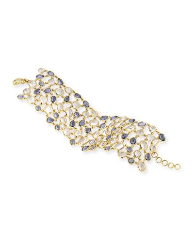 18K Blue Sapphire & Rock Crystal Mosaic Bracelet