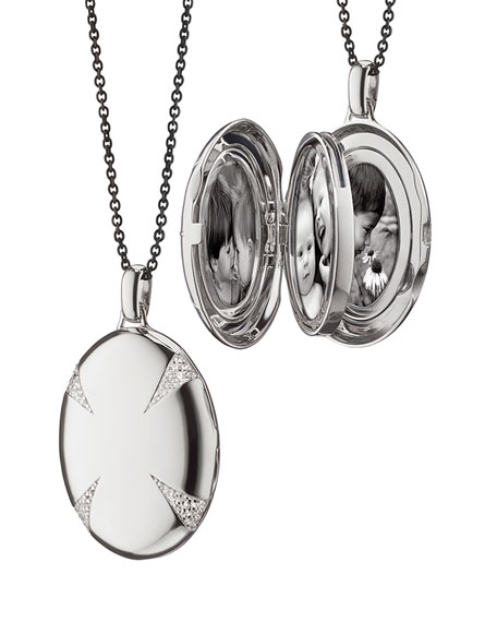 Sterling Silver & White Sapphire Locket Necklace