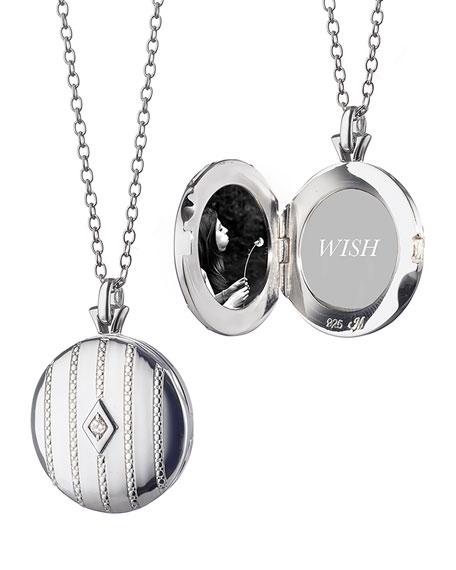 Pinstripe Diamond Locket Necklace