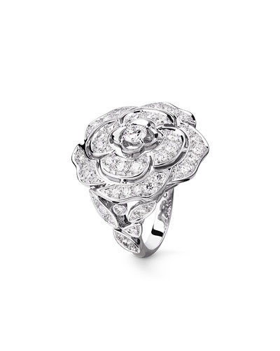 BOUTON DE CAMELIA Large Ring in 18K White Gold and Diamonds