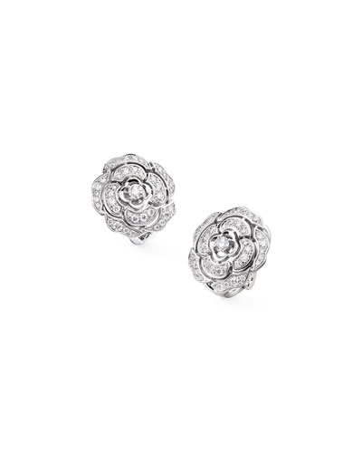 BOUTON DE CAMELIA Stud Earrings in 18K White Gold and Diamonds